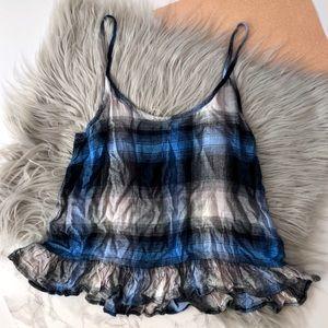 Cloth & Stone Blue & Black Plaid Cami Top